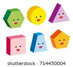 3d shapes cute emojis | Shutterstock .eps vector #714450004