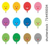 colored balloons cute emojis | Shutterstock .eps vector #714450034