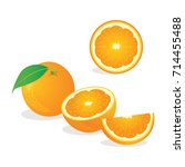 fresh orange. vector... | Shutterstock .eps vector #714455488