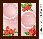 vector flower wedding... | Shutterstock .eps vector #714457198