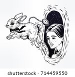 Stock vector hand drawn beautiful portrait of a girl alice in wonderland chasing the white rabbit graphic 714459550