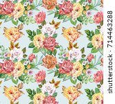 roses pattern.watercolor | Shutterstock . vector #714463288