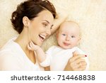 baby and mother  happy family... | Shutterstock . vector #714468838