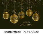 abstract gold new year baubles... | Shutterstock .eps vector #714470620