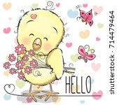 greeting card cute chicken with ... | Shutterstock .eps vector #714479464