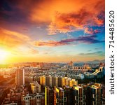 urban landscape in night of... | Shutterstock . vector #714485620
