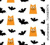 halloween seamless pattern with ... | Shutterstock .eps vector #714485974