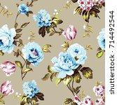 shabby chic vintage roses ... | Shutterstock . vector #714492544