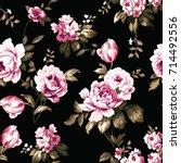 shabby chic vintage roses ... | Shutterstock . vector #714492556