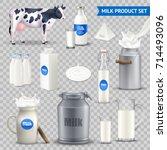 set of milk product in various... | Shutterstock .eps vector #714493096
