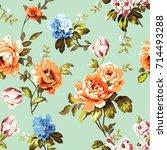 shabby chic vintage roses ... | Shutterstock . vector #714493288