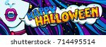 halloween illustration. open... | Shutterstock .eps vector #714495514