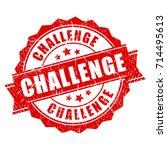 red grunge challenge stamp | Shutterstock .eps vector #714495613