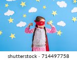 six year blonde girl dressed... | Shutterstock . vector #714497758
