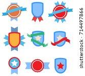 badges flat vintage set . star... | Shutterstock . vector #714497866