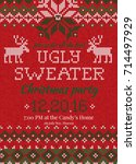 ugly sweater christmas party... | Shutterstock .eps vector #714497929