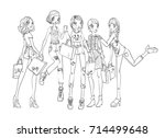 a group of young girls with... | Shutterstock .eps vector #714499648