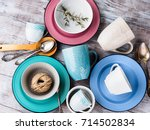 ceramic crockery tableware on... | Shutterstock . vector #714502834
