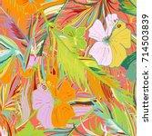 hand drawn tropical seamless... | Shutterstock .eps vector #714503839
