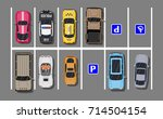 city parking lot with different ... | Shutterstock .eps vector #714504154