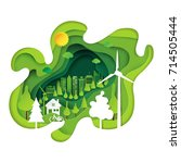 green eco city abstract paper... | Shutterstock .eps vector #714505444