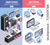 two colored isometric smart...   Shutterstock .eps vector #714509788