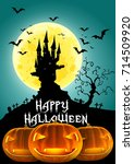 happy halloween  haunted castle ... | Shutterstock . vector #714509920