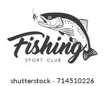 fishing sport club logo. hand... | Shutterstock .eps vector #714510226