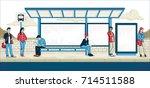 passengers at bus stop. cartoon ... | Shutterstock .eps vector #714511588