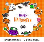 halloween frame with cute... | Shutterstock .eps vector #714515083