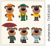 set funny puppy dog in... | Shutterstock .eps vector #714516100