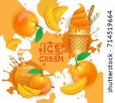 ice cream with peach taste... | Shutterstock .eps vector #714519664