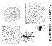 hand drawn halloween set. web...   Shutterstock .eps vector #714524440