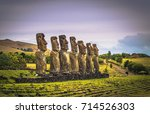 ahu akivi  easter island   july ... | Shutterstock . vector #714526303