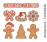 christmas gingerbread cookie... | Shutterstock .eps vector #714526648