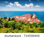 aerial view of old town piran.... | Shutterstock . vector #714530443