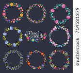 vector collection wreath floral ... | Shutterstock .eps vector #714531379