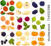 a set of different fruits and... | Shutterstock .eps vector #714532588