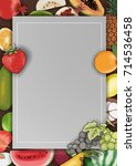 vector hand drawn fruit and... | Shutterstock .eps vector #714536458