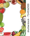 vector hand drawn fruit and... | Shutterstock .eps vector #714536500