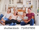 family with teenage children... | Shutterstock . vector #714537850