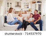 family with teenage children...   Shutterstock . vector #714537970