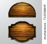 wooden signs  vector icon set | Shutterstock .eps vector #714538849