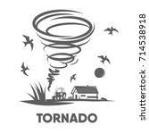 destructive tornado vector... | Shutterstock .eps vector #714538918