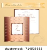 luxury bronze shiny wedding... | Shutterstock .eps vector #714539983