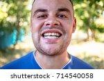 young man in a blue t shirt...   Shutterstock . vector #714540058