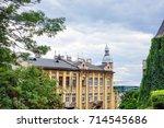 antique building view in krakow ... | Shutterstock . vector #714545686