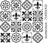 portuguese vector tiles pattern ... | Shutterstock .eps vector #714551923