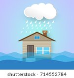 flooding water in city street  | Shutterstock .eps vector #714552784