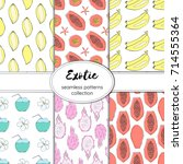 collection of seamless vector... | Shutterstock .eps vector #714555364